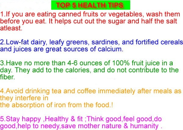 Top Five Health Tips
